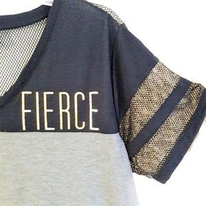 Graphic Tee Baseball Fierce Mesh Gold Glitter 2X